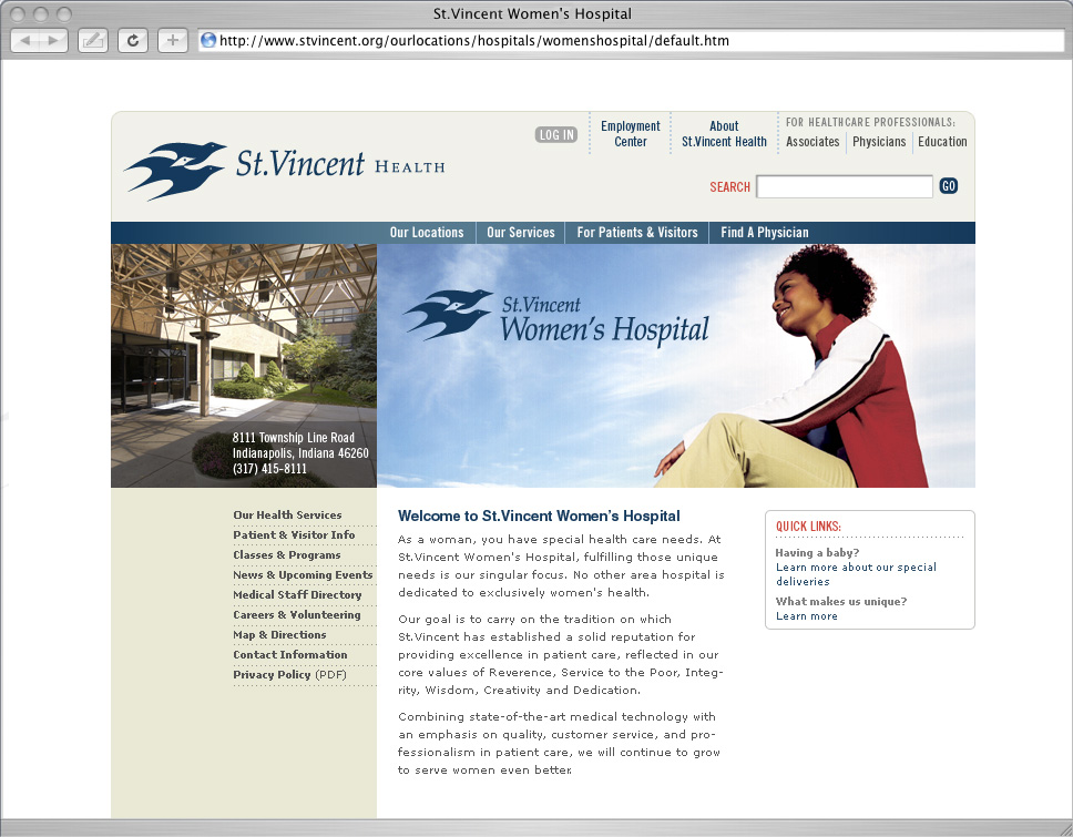 St.Vincent Health Website System Redesign