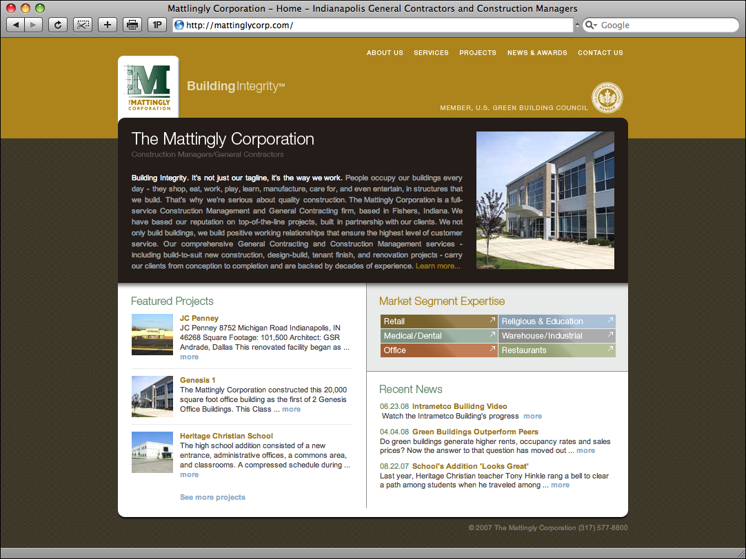 Mattingly Corporation Website Redesign
