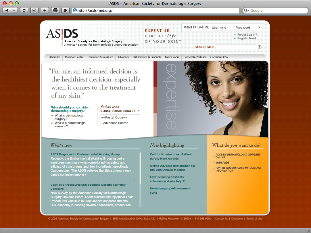 American Society for Dermatologic Surgery Website Redesign