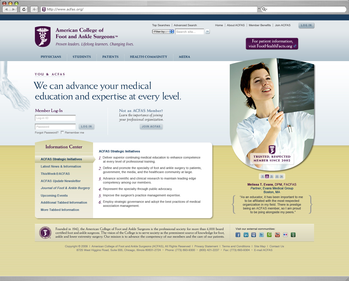 American College of Foot and Ankle Surgeons Website Redesign