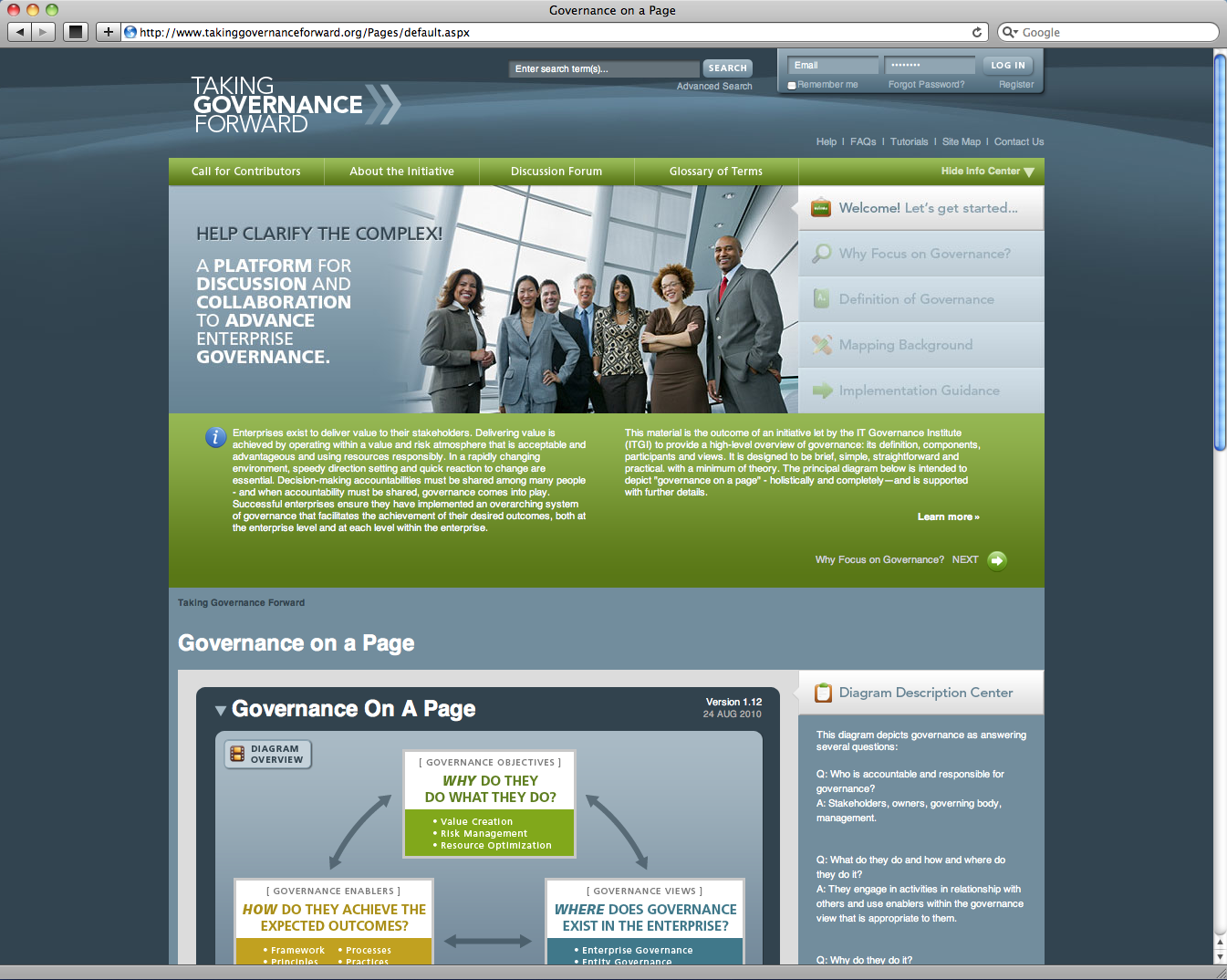 "ISACA ""Taking Governance Forward"" Website"