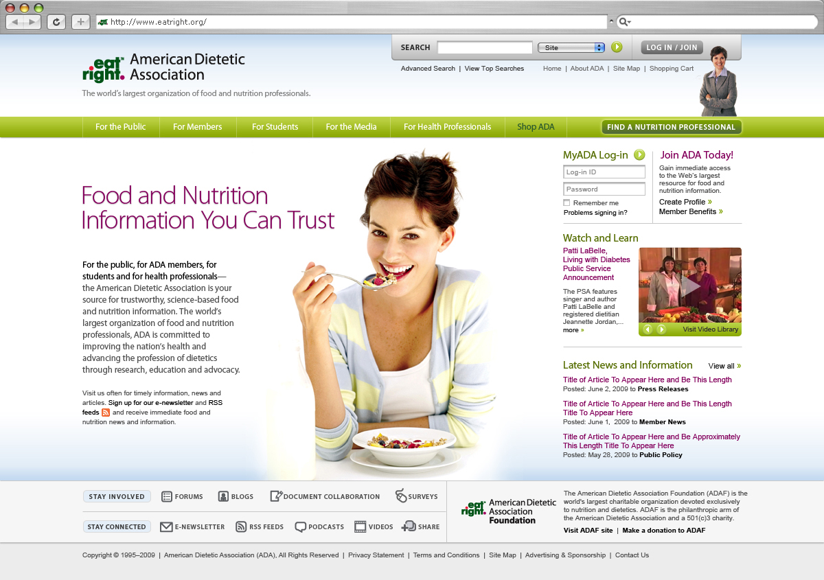 American Dietetic Association Website Redesign