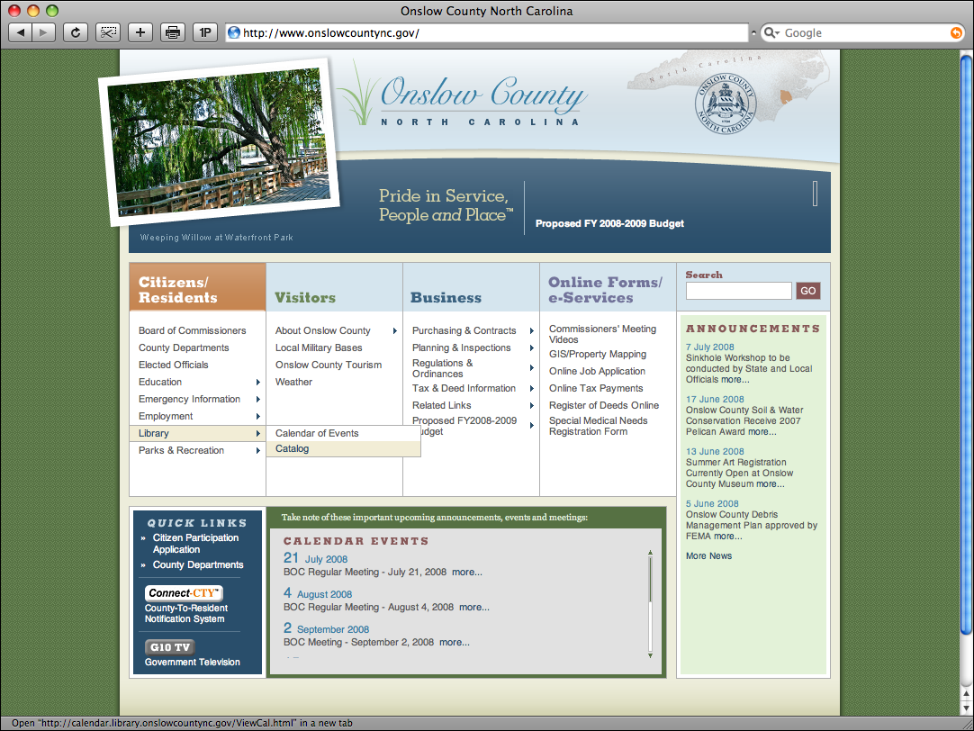 Onslow County, N.C. Website Redesign