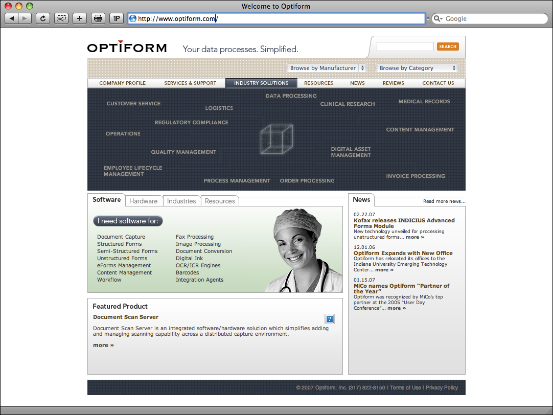 Optiform Website Redesign