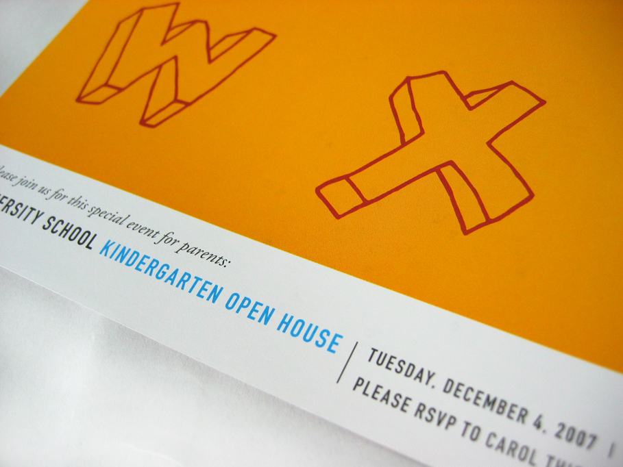 University School Kindergarten Open House Mailer