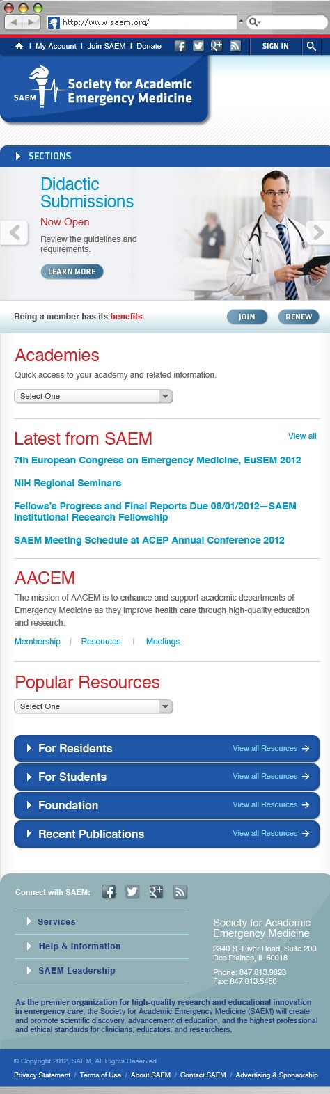 Society for Academic Emergency Medicine Website Redesign