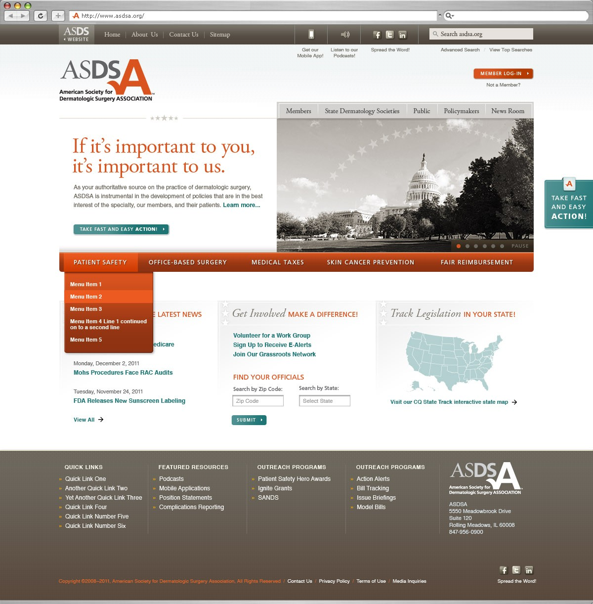 American Society for Dermatologic Surgery Association Website Design